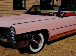 Classic Pink Convertible Cadillac for weddings in Richmond